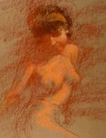 Seated Model in Red and Orange